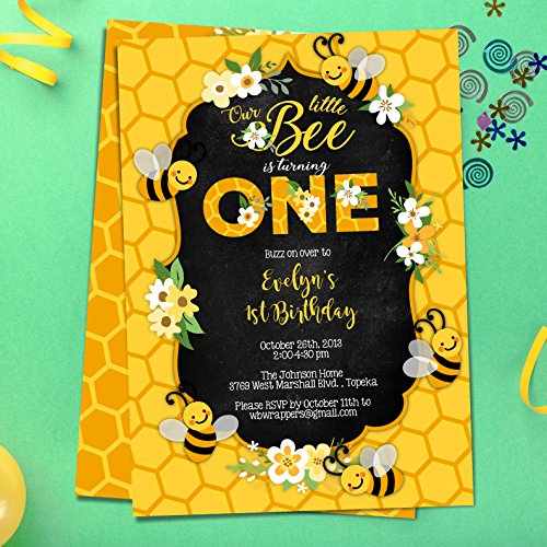 Bee 1st Birthday Party Invitation | First Bee Day Invites | ONE | Bee Themed | First Birthday | Buzz On Over | PRINTABLE FILE (Mod Invite)