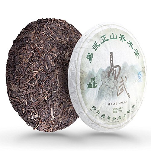 Puerh Unfermented Green Tea Cake Yiwu - Yunnan Chinese Aged Raw Pu-erh Green Tea Loose Leaf - Natural Detox Sheng Pu erh with Caffeine for Weight Loss  2010 year, 357gram/12.6 ounce