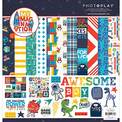 Photo Play My Imagination Collection Pack with 12 Sheets of 12x12 Double Sided Cardstock and 1 Sheet of (Boy Scrapbook Paper)