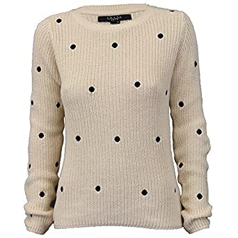 Ladies Jumpers Womens Knitted Top Pullover Sweater Polka Dot Amara Reya  Winter  Amazon.co.uk  Clothing ba25f58a4