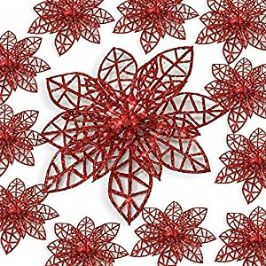 BANBERRY DESIGNS Poinsettia Ornaments - Holiday Decorations - Artificial Poinsettia Ornaments 107