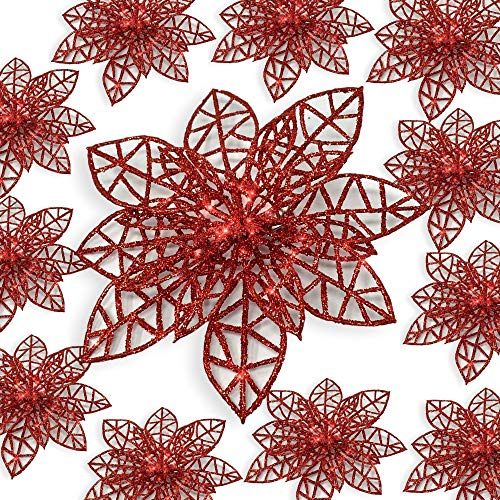 BANBERRY DESIGNS Red Poinsettia Ornaments - Pack of 12 Glitter Poinsettia Flowers with Metal Clip - Holiday Decorations - Artificial Poinsettia ()
