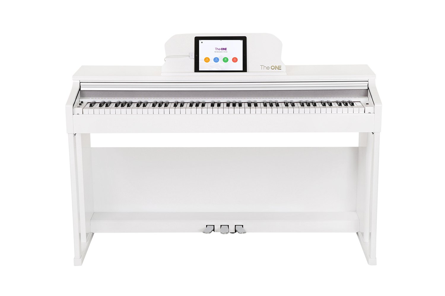 The ONE Smart Piano, Weighted 88-Key Digital Piano, Grand Graded Hammer-Action Keys Upright Piano-Classic White by The ONE Music Group