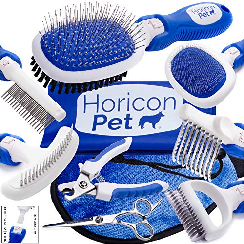 Horicon Pet Ultimate Dog Grooming Set with Dematting Tools – Interchangeable Dog Brushes, Dog Nail Clipper, Trimming Scissors and Grooming Mitt All in One