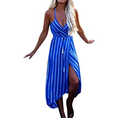 f0606a30e6fb7 Women Dresses TUDUZ Womens Summer Boho Striped Split Maxi Dress ...