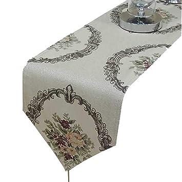 Amazon.com: D&F Caminos de mesa beige, exquisito patrón para ...