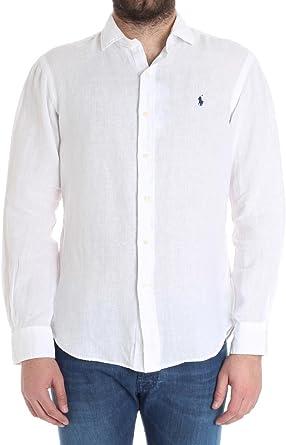 Ralph Lauren Hombre 710695930005 Blanco Algodon Camisa: Amazon.es: Ropa y accesorios