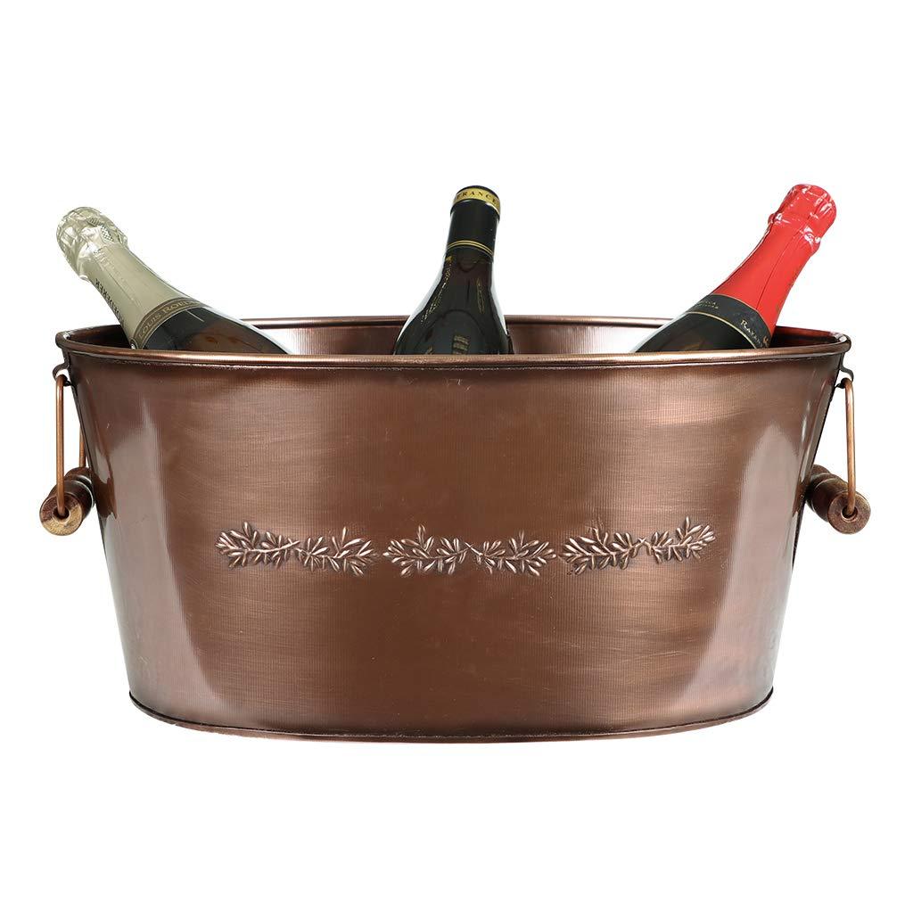 Large Copper Finish Floral Embossed Champagne Wine Bottle Ice Bucket Cooler Tub