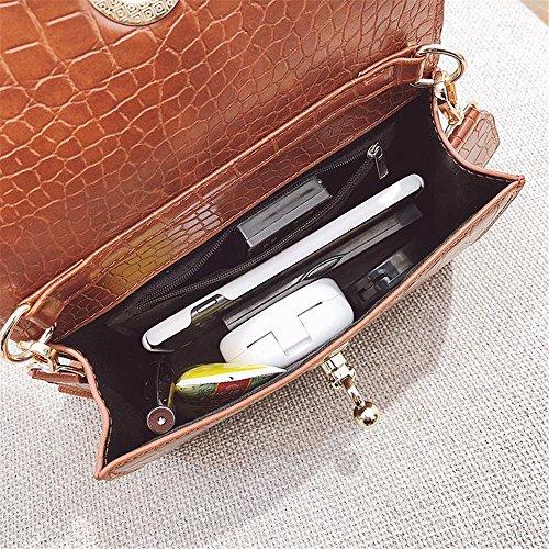 Boucle Un pour Messenger Convient à Asdflina Crocodile PU capacité Bag bandoulière bandoulière rétro Large Usage Quotidien Simple Brown Sac Grande awxZTf7wqt