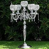Efavormart 25'' Tall Candelabra Chandelier Crystal Votive Candle Holder Wedding Centerpiece -Silver