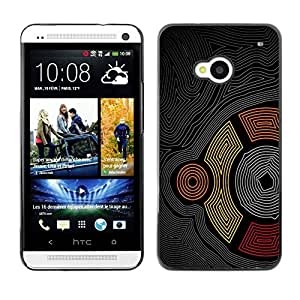PC/Aluminum Funda Carcasa protectora para HTC One M7 Cool Abstract Maze Pattern Aztec Tribal Line / JUSTGO PHONE PROTECTOR