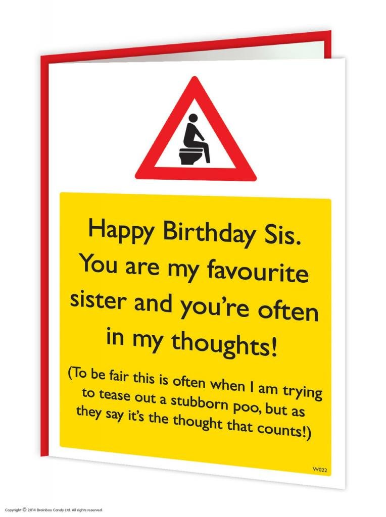 Funny Humorous Poo Thoughts Sister Birthday Warning Card Amazon