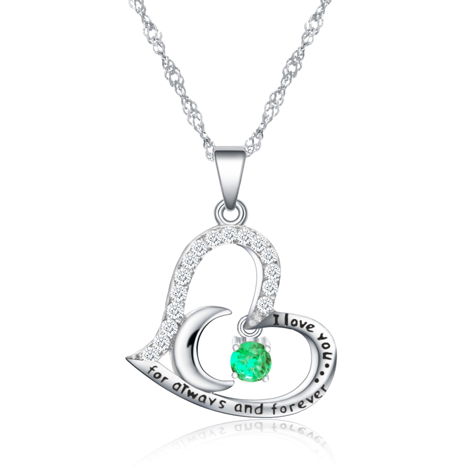 Dancing Birthstone Birthstone Jewelry I Love You For Always and Forever Emerald Pendant Necklace Birthstone Necklace (05-May-Emerald)