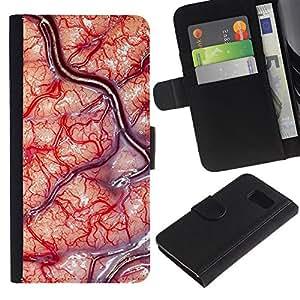 KingStore / Leather Etui en cuir / Samsung Galaxy S6 / Sangre Cirujano Biología Macro