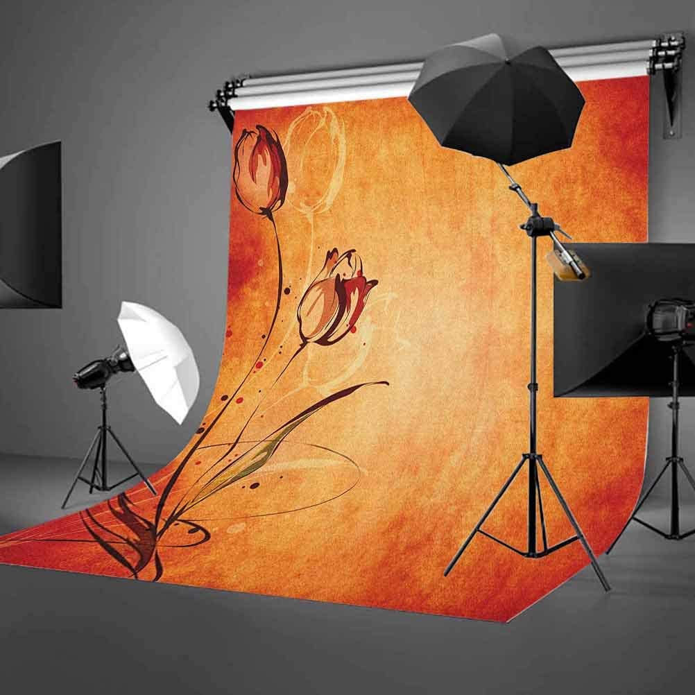 7x10 FT Vinyl Photography Backdrop,Vintage Aged Faded Dark Background with The Silhouette of Murky Rose Digital Image Background for Graduation Prom Dance Decor Photo Booth Studio Prop Banner