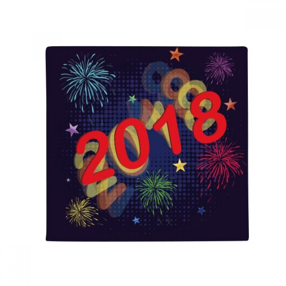 DIYthinker 2018 Fireworks Star Happy New Year Anti -slip Floor Pet Mat Square Home Kitchen Door 80Cm Gift