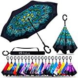 Fidus Double Layer Inverted Reverse Umbrella,Winproof Waterproof Folding UV Protection Self Stand Upside Down Large Car Rain Golf Outdoor Rain Umbrella with C-Shaped Handle(GreenPeacock)