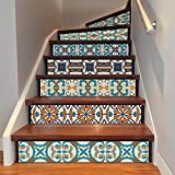"""AmazingWall Stair Sticker Self Adhesive Tiles Decal 3D Mural Art Home Decoration Peel and Stick 7.1x39.4"""" 6Pcs/Set"""