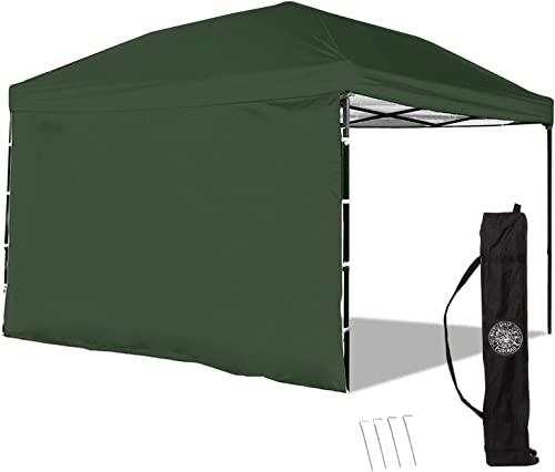 Punchau Pop Up Canopy Tent with Sidewall 10 x 10 Feet, Green - UV Coated, Waterproof Instant Outdoor Gazebo Tent, Bonus Roller Carry Bag