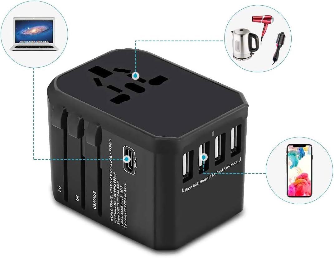 LEDLUX ESE027 Adaptateur chargeur de voyage universel avec prise EU UK US aus CN avec 4 ports USB 5 V 2,4 A 1 port Type-C 5 V 3 A Sac inclus