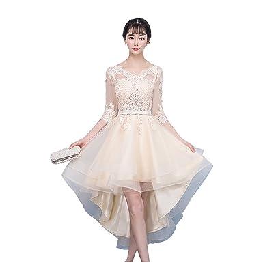 ec900390cfcf3 パーティードレス 不規則型 ミモレ丈 ドレス シャンパン色 独奏 演奏 舞台 写真 双肩 袖