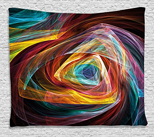 Ambesonne 3D Tapestry Fractal Decor, Psychedelic Gradient Triangle Shapes Lines Funky Hippie Illusionary Art, Wall Hanging for Bedroom Living Room Dorm, 80WX60L Inches, with Free 3D Glasses, Multi