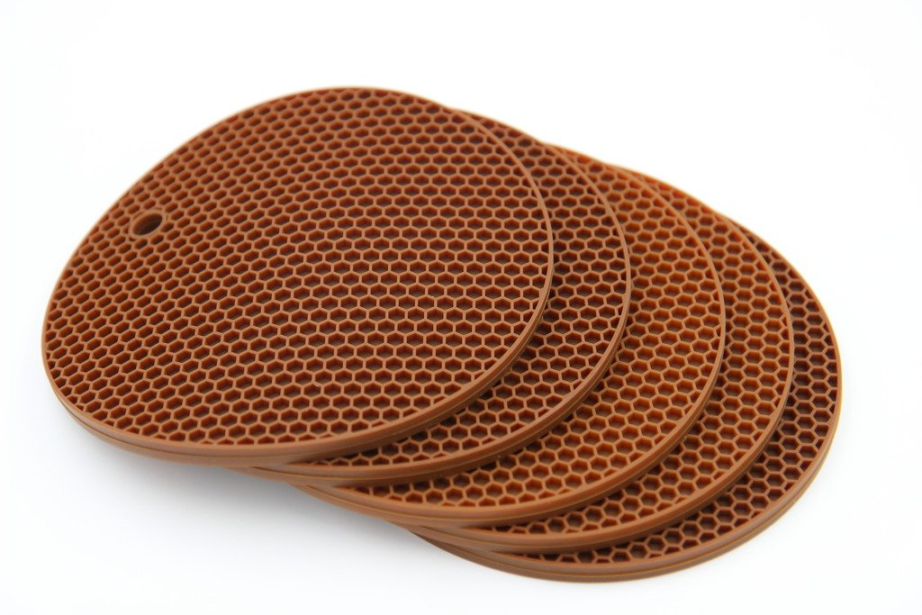 Taousa 70192 5-pack Round Silicone Pot Holder Trivet Mat Coaster Placemat Hot Pad, Non-slip Flexible Durable Heat-resistant Insulated Suspensible, 7.1in Dia, 3in Thick, Color Brown