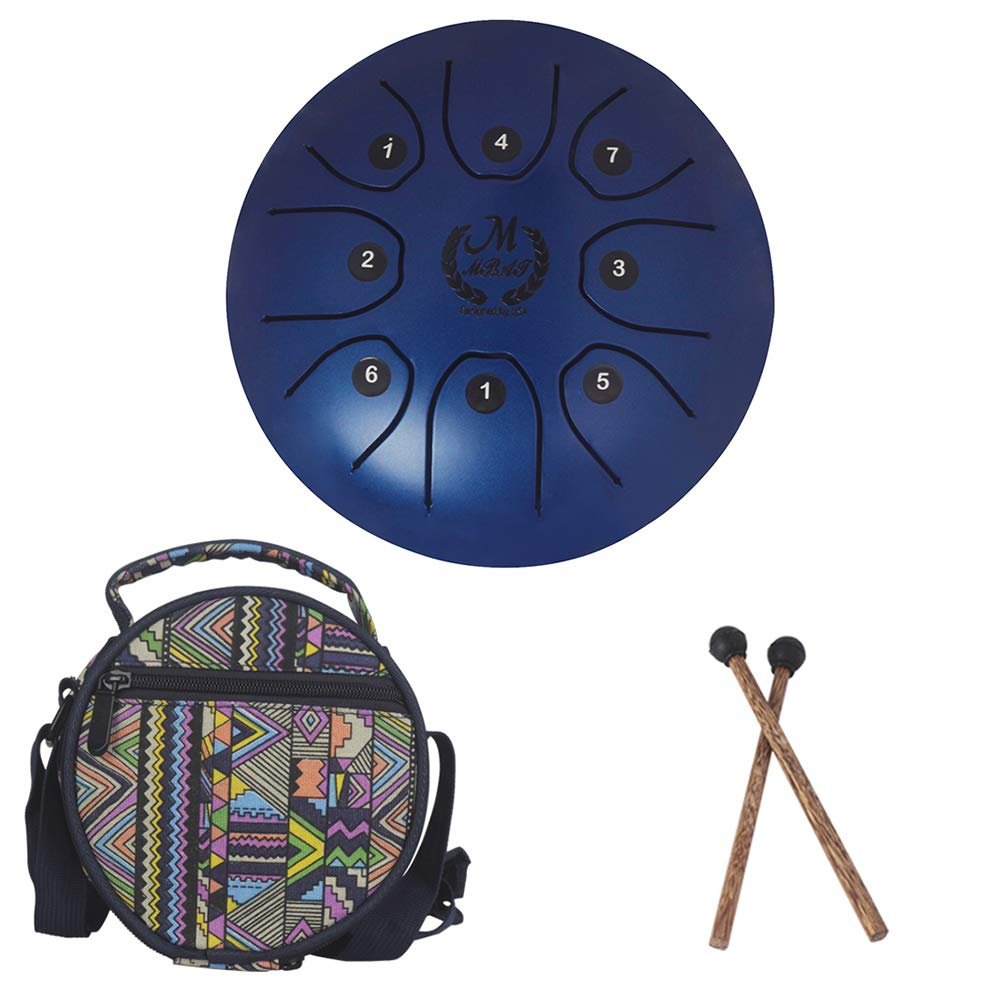 5.5 Inch Mini Steel Tongue Drum with Musical Mallet and Travel Bag for Personal Meditation, Yoga, Zen (Blue)