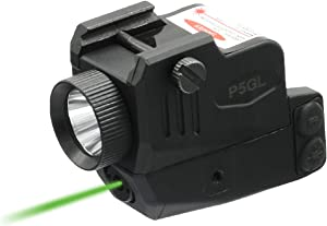 HiLight P5GL 400lm Strobe Flashlight Green Laser Sight Combo (Laser Light Combo) for Pistols Handguns Rifles Built-in USB Rechargeable Battery