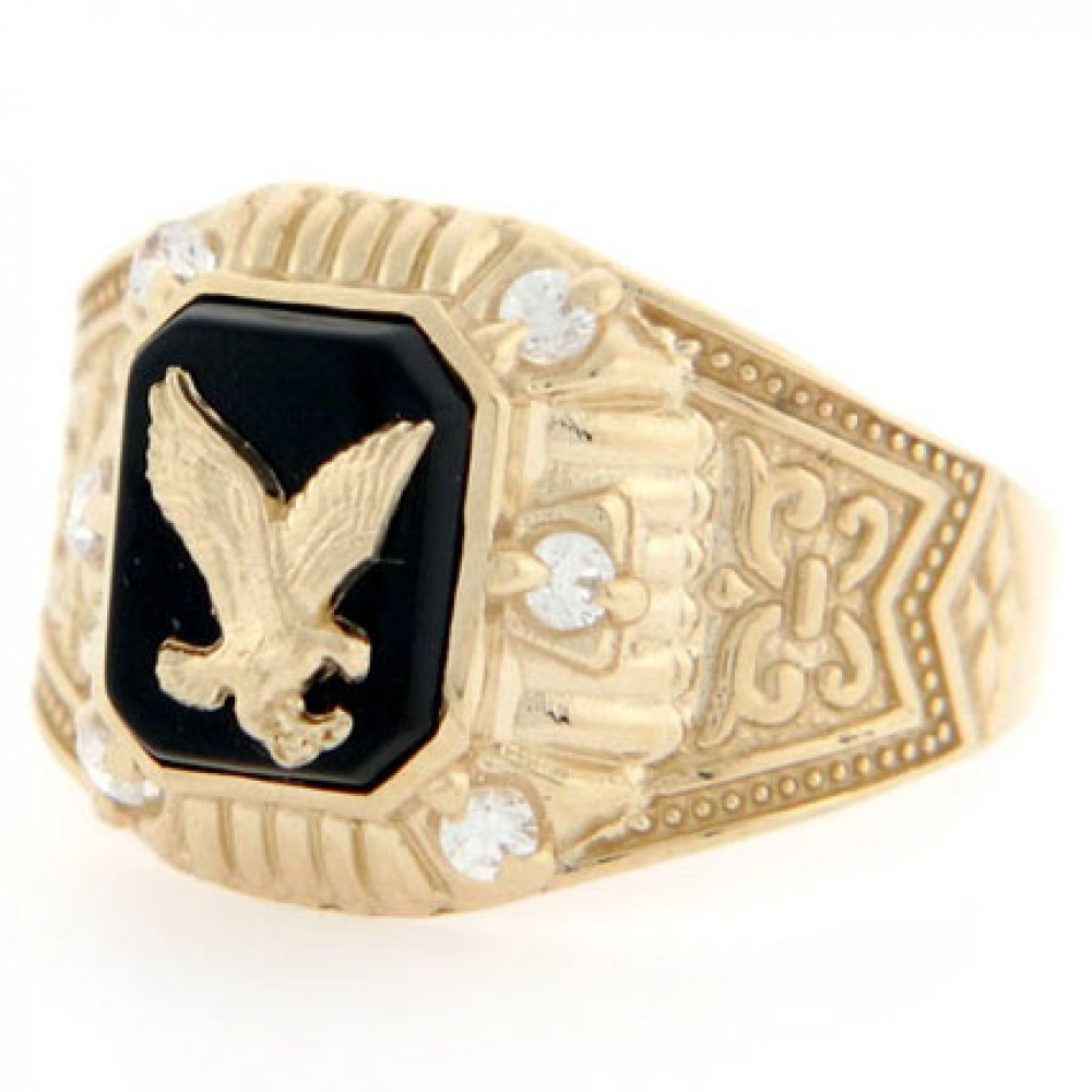 10k Yellow Gold Eagle Onyx CZ Mens Ring Jewelry