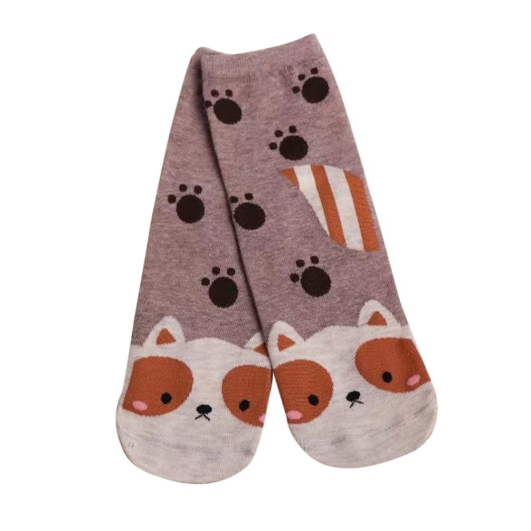 Clearance!Women Socks Ladies Girls Cotton Warm Soft Sox Cute Cartoon Socks (Coffee)