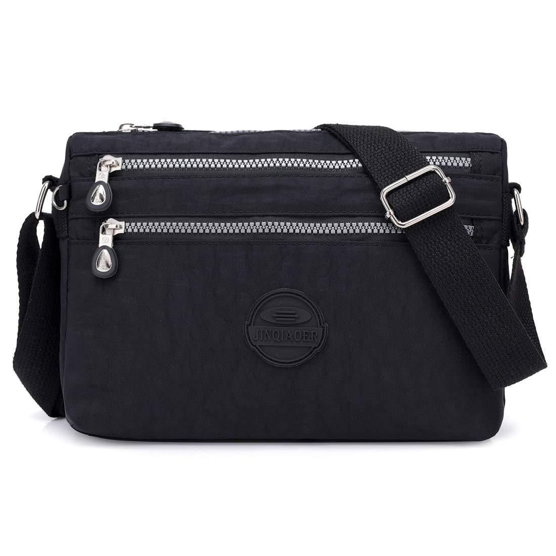 Crossbody Bags for Women Nylon Multi-Pocket Purse bag Travel Shoulder Hobo Bag by STUOYE Black