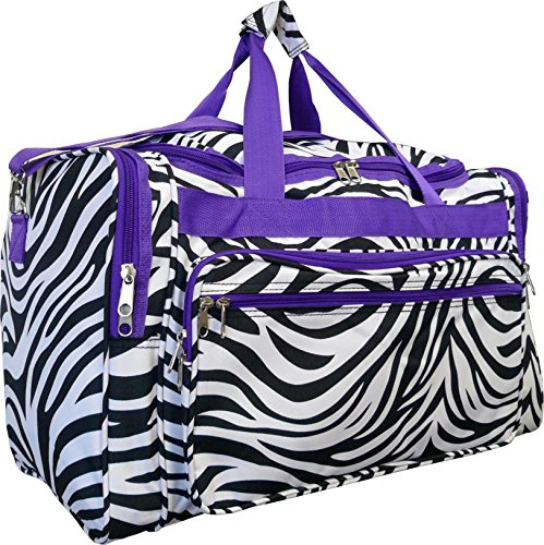 Zebra Trim Purple - 19-inch Travel Duffle Bag | Multiple Designs to Choose From | Perfect Travel Size Duffel Bag by Unique Traveler (Zebra-Purple Trim)