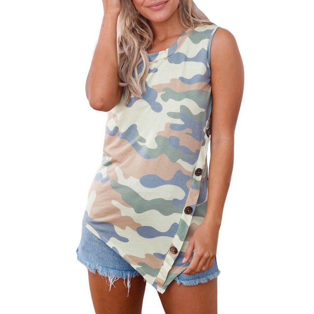 Blouse for Women T shirt for Women Women Summer Print Sleeveless Round Neck Button T-shirt Tank Top Blouse Shoulder Off Tunic XXXXL Long Sleeve Racerback Twist Knot