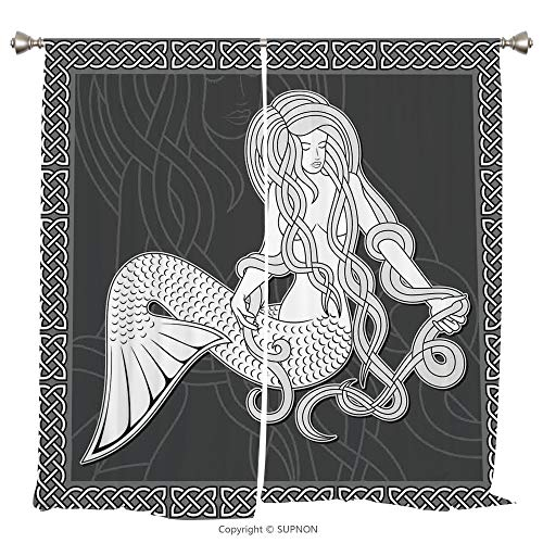 (Rod Pocket Curtain Panel Thermal Insulated Blackout Curtains for Bedroom Living Room Dorm Kitchen Cafe/2 Curtain Panels/55 x 45 Inch/Mermaid,Retro Style Art Mermaid Brushing Hair and Border with)