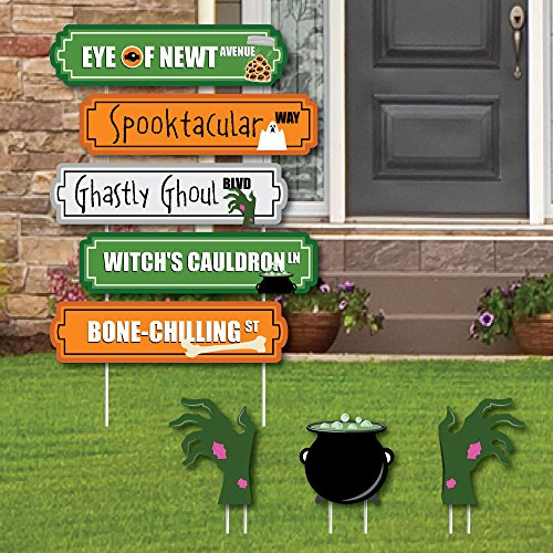 Scary Halloween Street Sign Cutouts - Halloween Yard Signs & Decorations - Set of 8 -