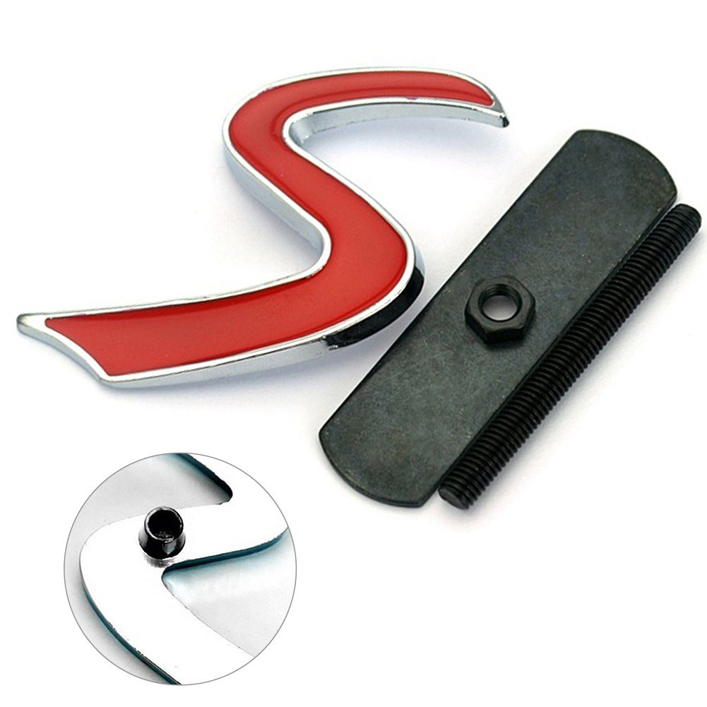 HMOCNV Mini Car Front Grill Badge Mini Cooper S Logo JCW Car Grill Hood Badge Decal Emblem