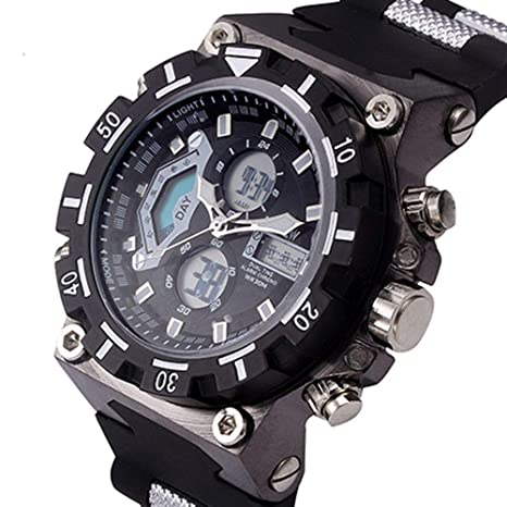 WULIFANG Nueva Moda Hombres Deportes Relojes Hombre Led Reloj Digital De Cuarzo Analógico Hombre Impermeable Reloj