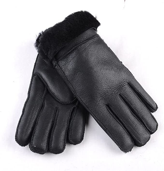 Ladies Womens Premium Genuine Real Soft Sheepskin Gloves Turn Back Cuff