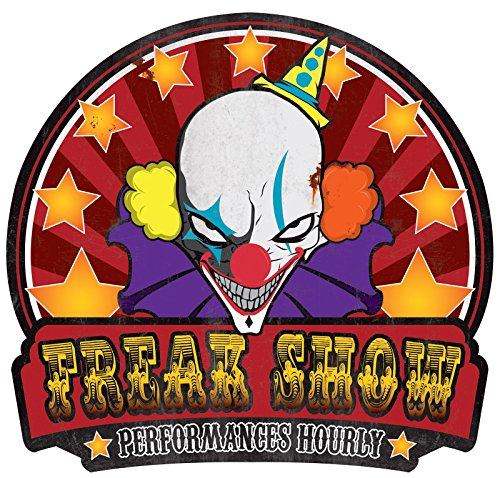 [Freak Show Sign Metal Halloween Twisted Circus Carnival Decoration Horror Prop] (Circus Themed Costumes For Men)