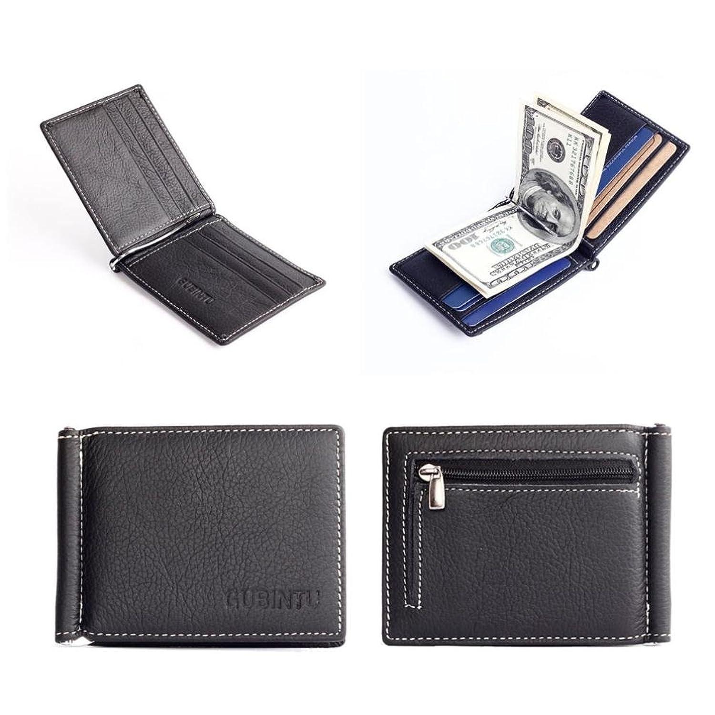 GBSELL GUBINTU Men Bifold Wallet Black Leather Slim Purse