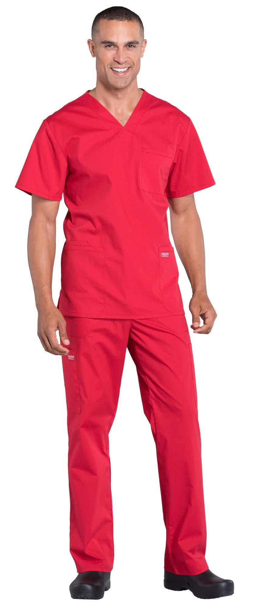 Cherokee Workwear Professionals Men's 4 Pocket V-Neck Scrub Top WW695 & Men's Drawstring Cargo Scrub Pants WW190 Medical Uniforms Scrub Set (Red - XX-Large/XX-Large)