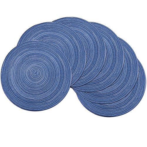 SHACOS Round Placemats Set of 6 Cotton Braided Placemats for Round Tables 15 inch Washable Round Table Mats (Royal Blue, 6)