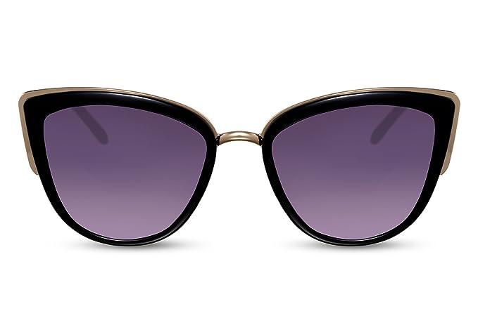 3b27d2ed2e110d Cheapass Damen-Sonnenbrille Cat-Eye Schwarz Oversized XXL Groß-e Brille UV-