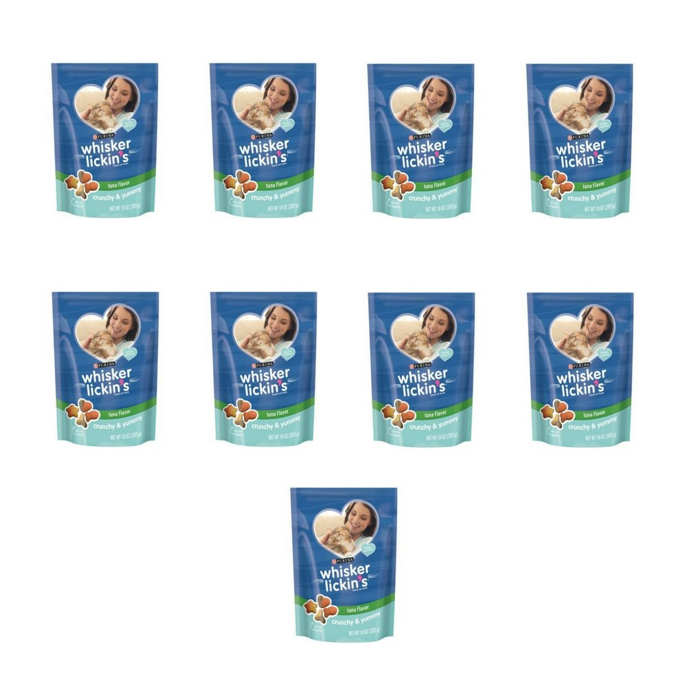 Whisker Lickin's Crunchy & Yummy Tuna Flavor Cat Treats, 10-Ounce Pouch, Pack of 9 by Purina Whisker Lickin's