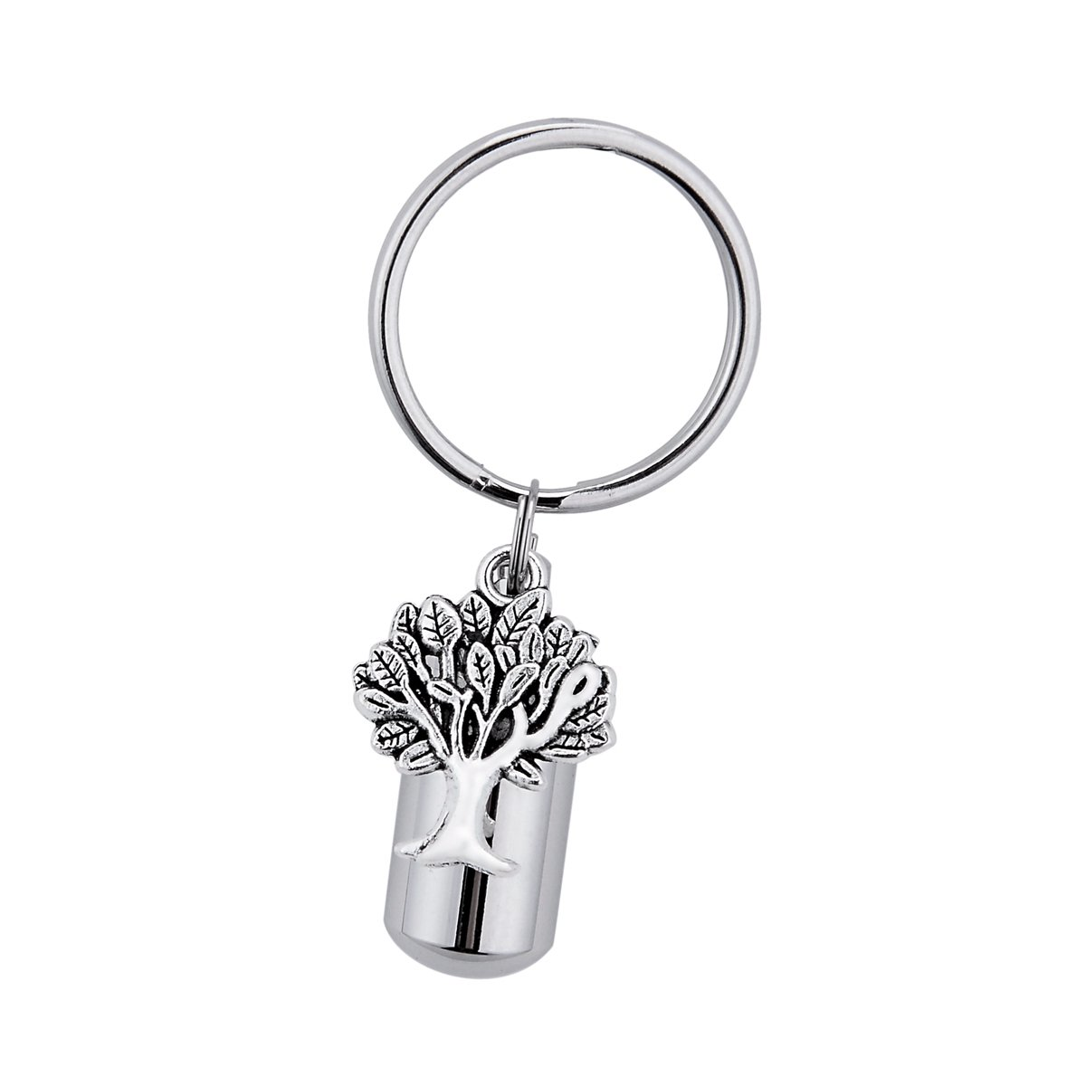 Cylinder with Tree of Life Cremation Urn Keychain Keepsake Stainless Steel Memorial Ashes Keyring BY B00YE0A15I