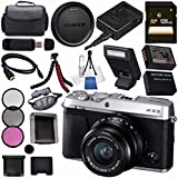 Fujifilm X-E3 XE3 Mirrorless Digital Camera 23mm f/2 Lens (Silver) 16558920 + NP-W126 Lithium Ion Battery + 43mm 3 Piece Filter Kit + 128GB SDXC Card + Carrying Case + Micro HDMI Cable Bundle