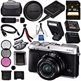 Fujifilm X-E3 XE3 Mirrorless Digital Camera with 23mm f/2 Lens (Silver) 16558920 + NP-W126 Lithium Ion Battery + 43mm 3 Piece Filter Kit + 128GB SDXC Card + Carrying Case + Micro HDMI Cable Bundle For Sale
