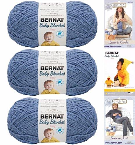 Bernat Baby Blanket Tiny 3 Pack 100 Percent Polyester Gauge Medium 4 Worsted Bundle (Dungaree)