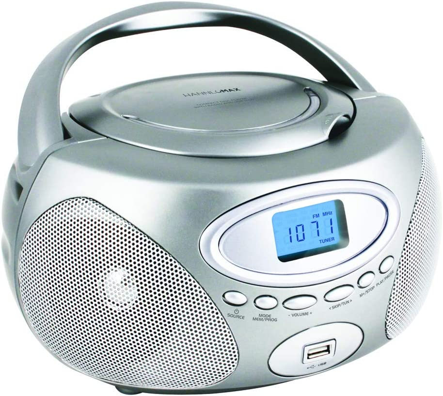 radio AM//FM, puerto USB para reproductor de MP3, pantalla LCD con retroiluminaci/ón azul, conexi/ón auxiliar, fuente de alimentaci/ón dual AC//DC Hannlomax HX-311CD Reproductor de CD y MP3 port/átil